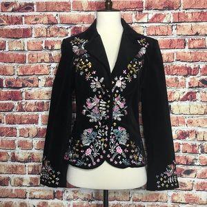 Moschino Black Velvet Embroidered Blazer